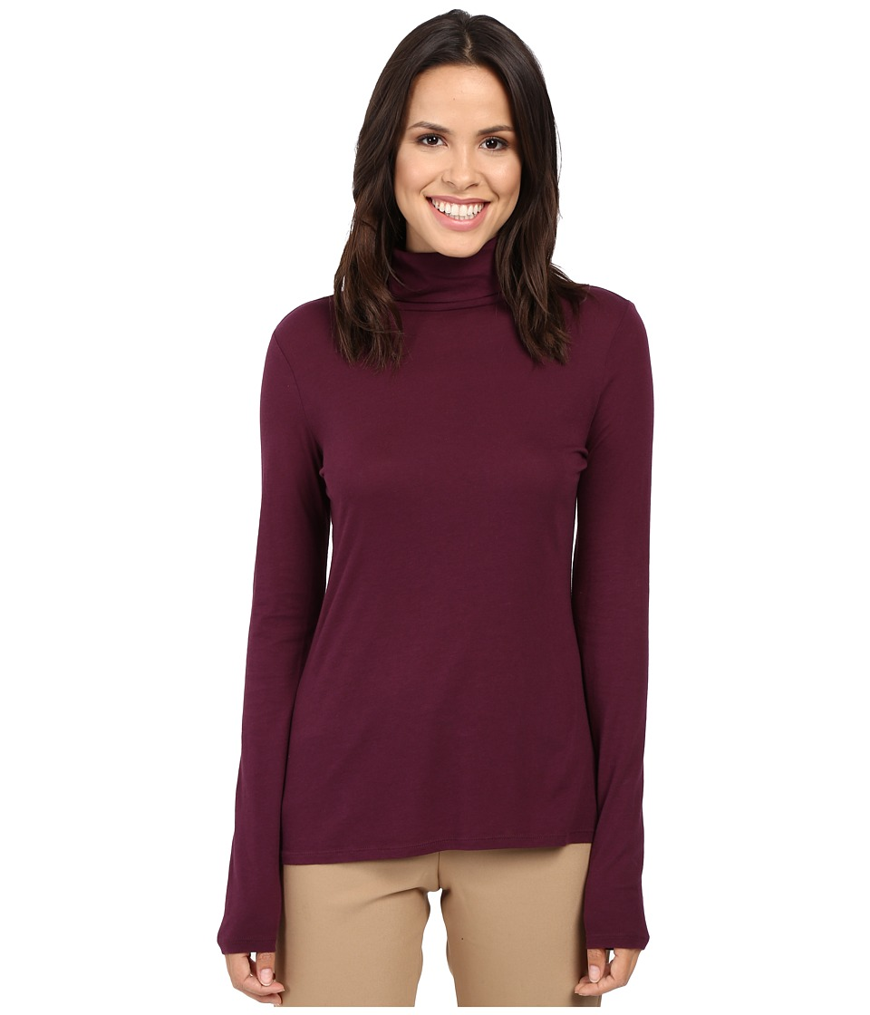 Pendleton - Long Sleeve Mock Neck Tee (Plum) Women's T Shirt