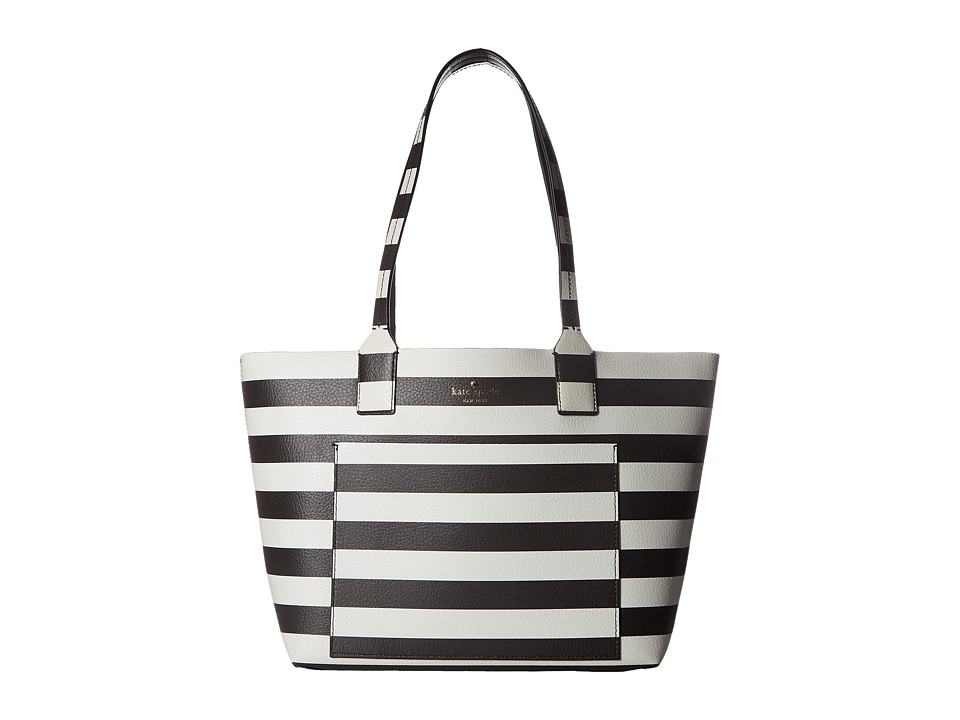 Kate Spade New York - Jones Street Small Posey (Black/Cream Stripe) Handbags