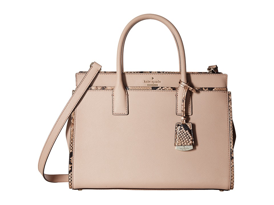 Kate Spade New York - Cameron Street Snake Candace Satchel (Toasted Wheat) Satchel Handbags