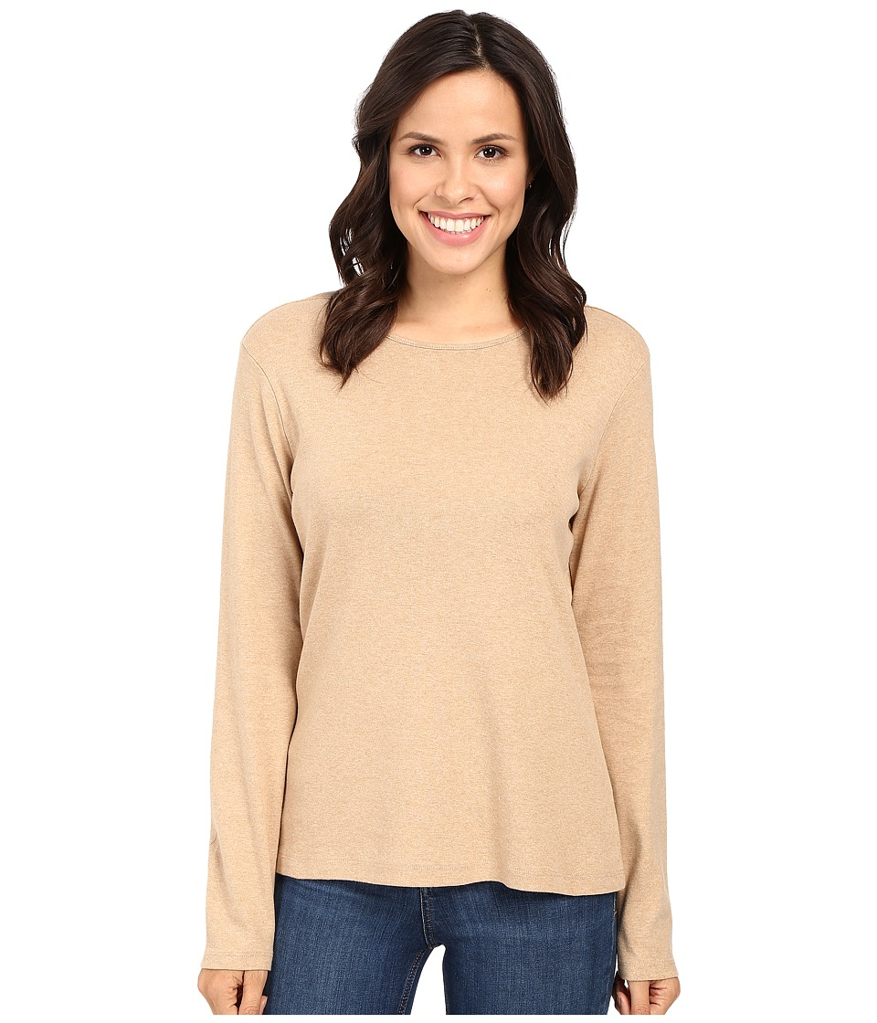 Pendleton - L/S Jewel Neck Cotton Rib Tee (Camel Heather 1) Women's Long Sleeve Pullover