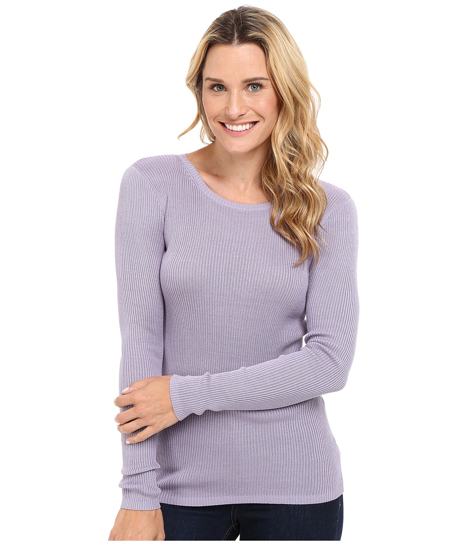 Pendleton - Rib Jewel Neck Pullover (Lavender Grey) Women's Clothing
