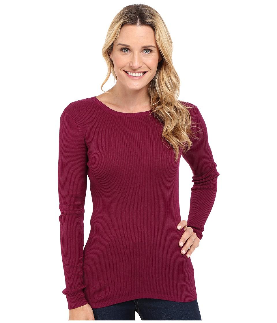 Pendleton - Rib Jewel Neck Pullover (Purple Potion) Women's Clothing