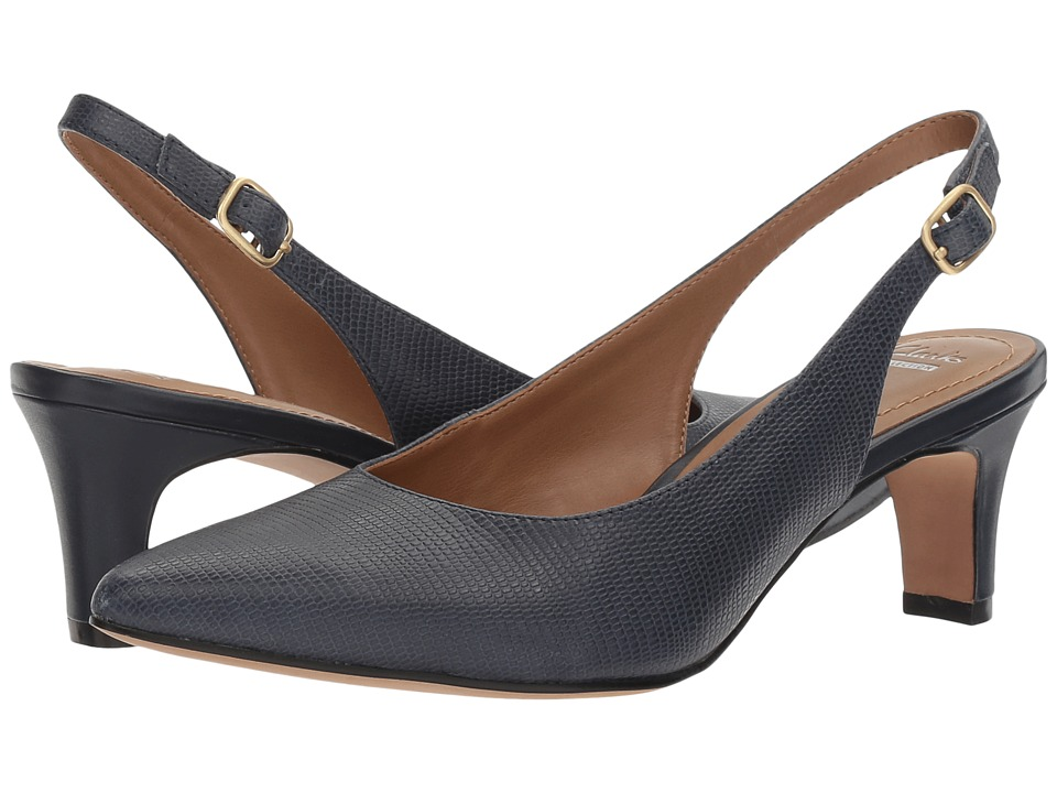 Clarks - Crewso Riley (Navy Leather Lizard Print) Women's Shoes