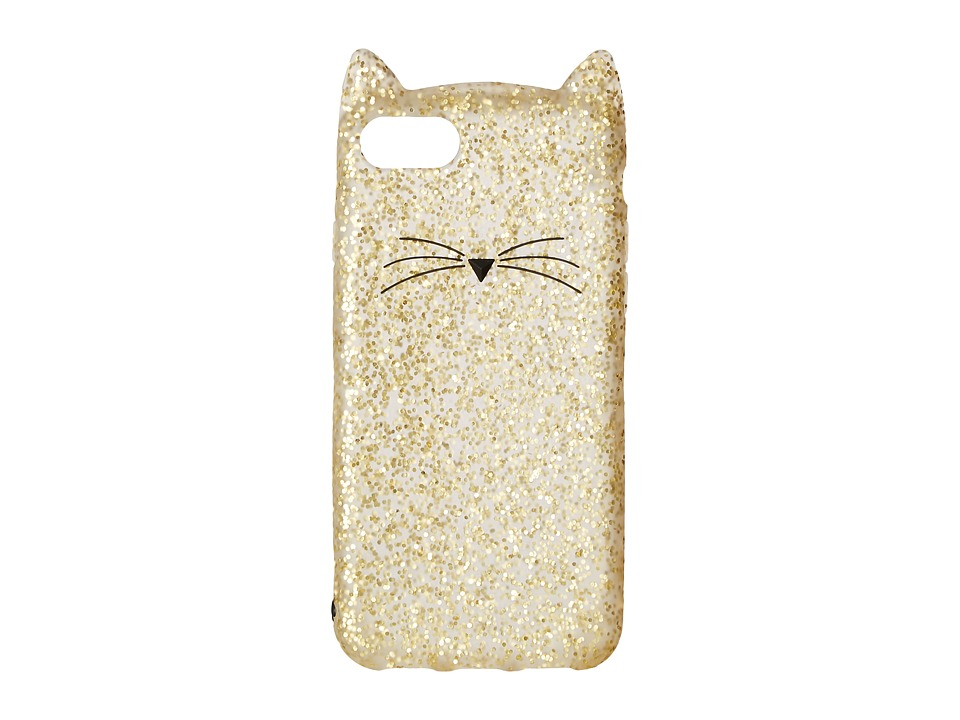 Kate Spade New York - Glitter Cat Phone Case for iPhone 7 (Gold Glitter) Cell Phone Case