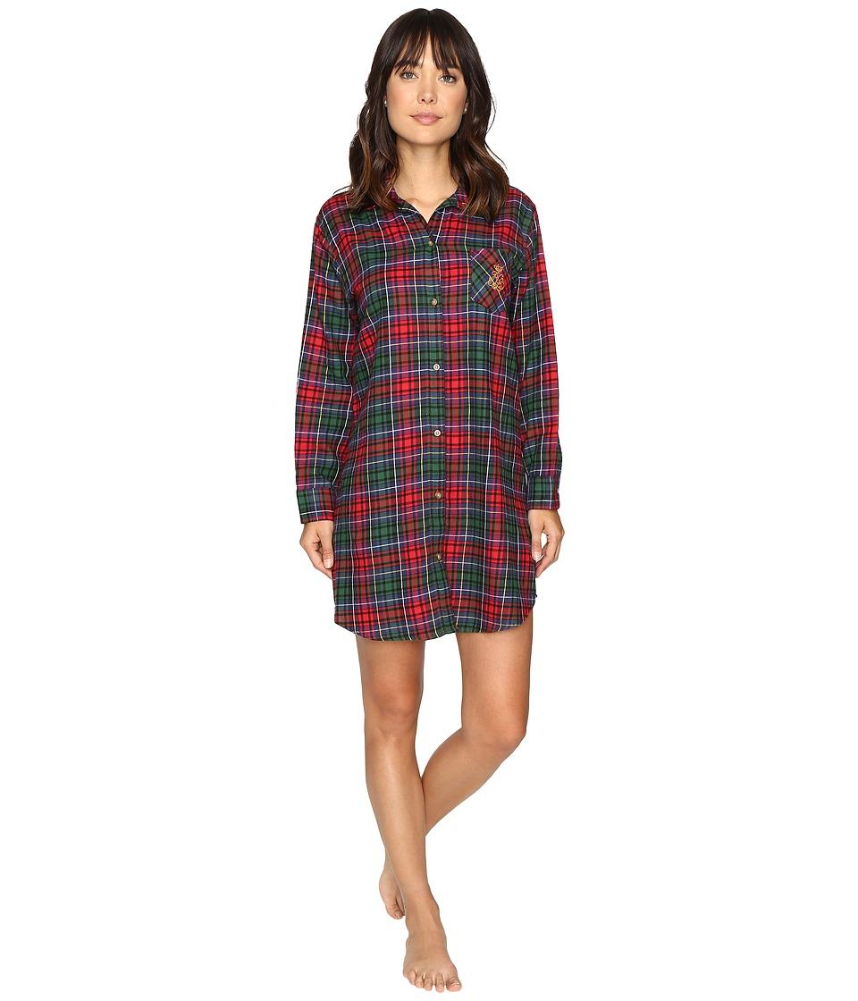 LAUREN Ralph Lauren - Brushed Twill Sleepshirt (Plaid Red/Green/Blue) Women's Pajama