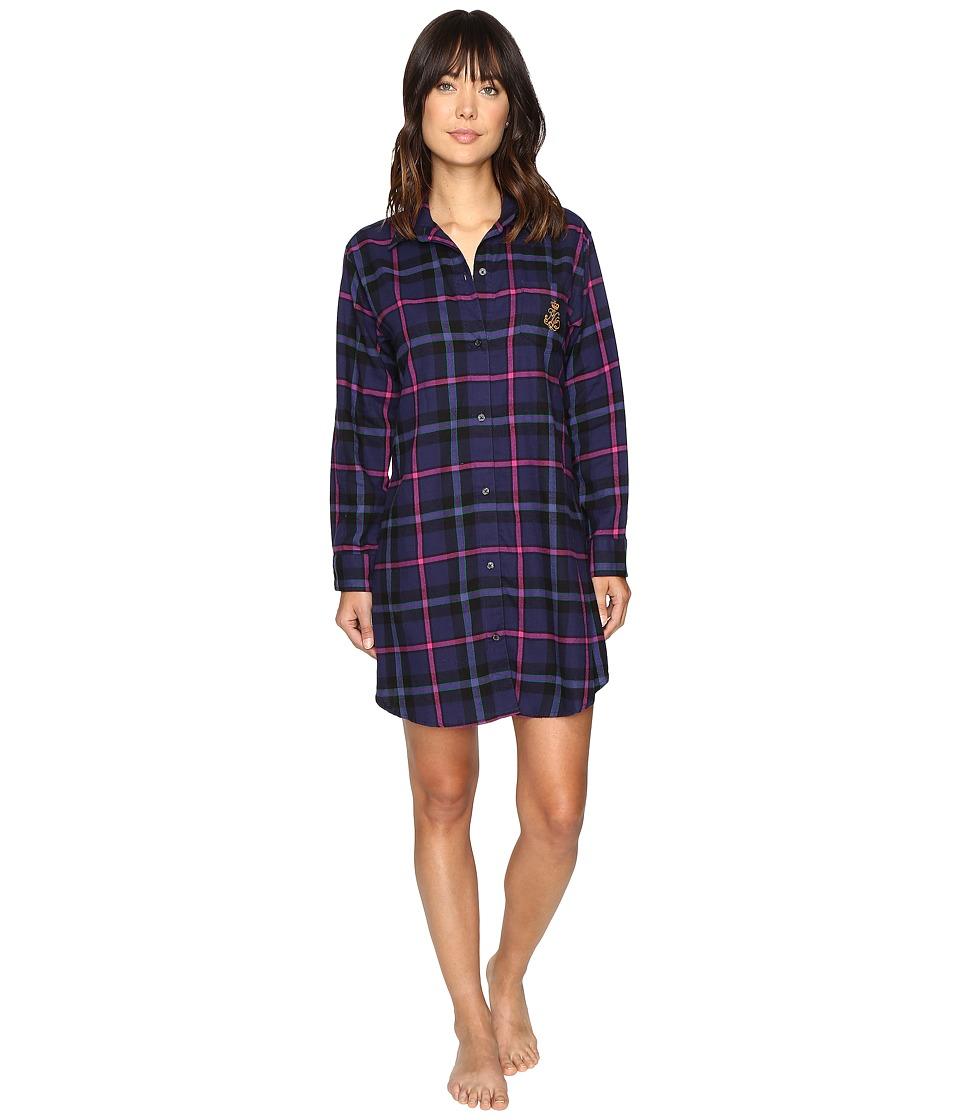LAUREN Ralph Lauren - Brushed Twill Sleepshirt (Plaid Purple/Black) Women's Pajama