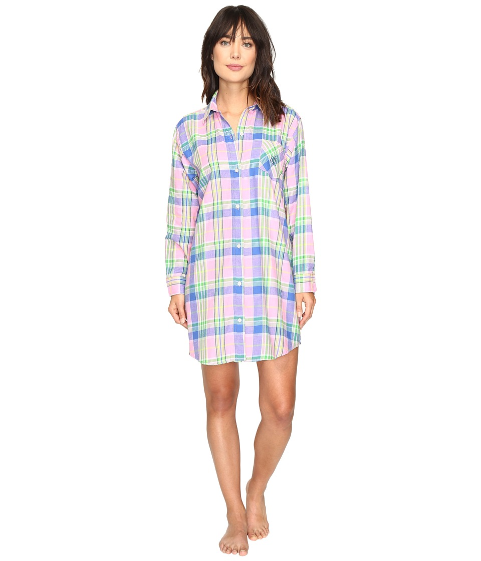 LAUREN Ralph Lauren - Brushed Twill Sleepshirt (Plaid Pink) Women's Pajama