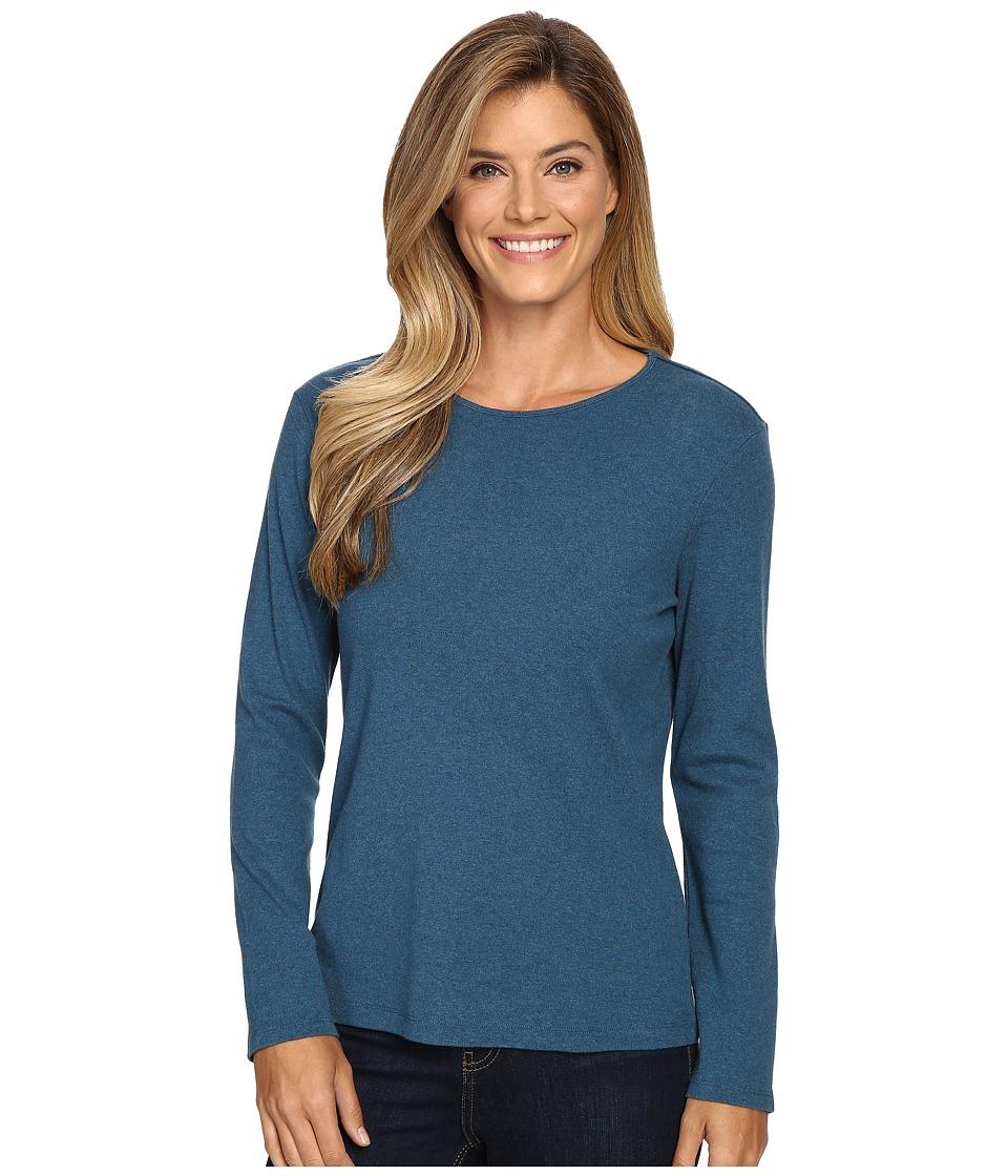 Pendleton - L/S Jewel Neck Cotton Rib Tee (Night Sky Heather) Women's Long Sleeve Pullover