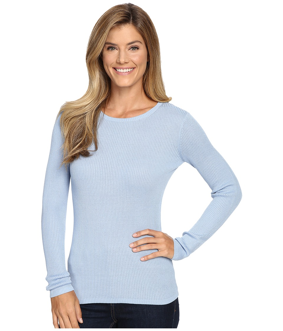 Pendleton - Rib Jewel Neck Pullover (Chambray Blue) Women's Clothing