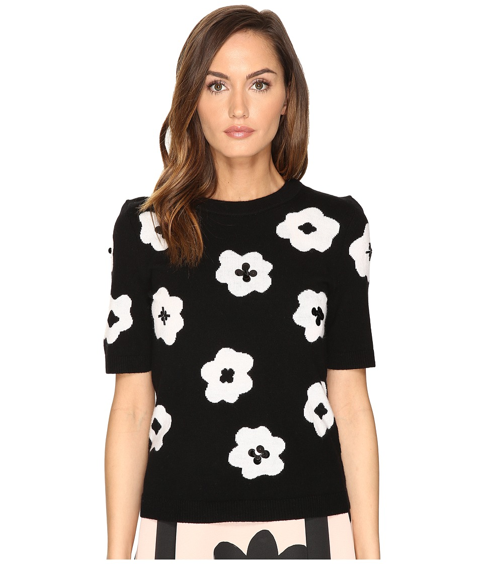 Kate Spade New York - Floral Intarsia Sweater (Black/Cream) Women's Sweater