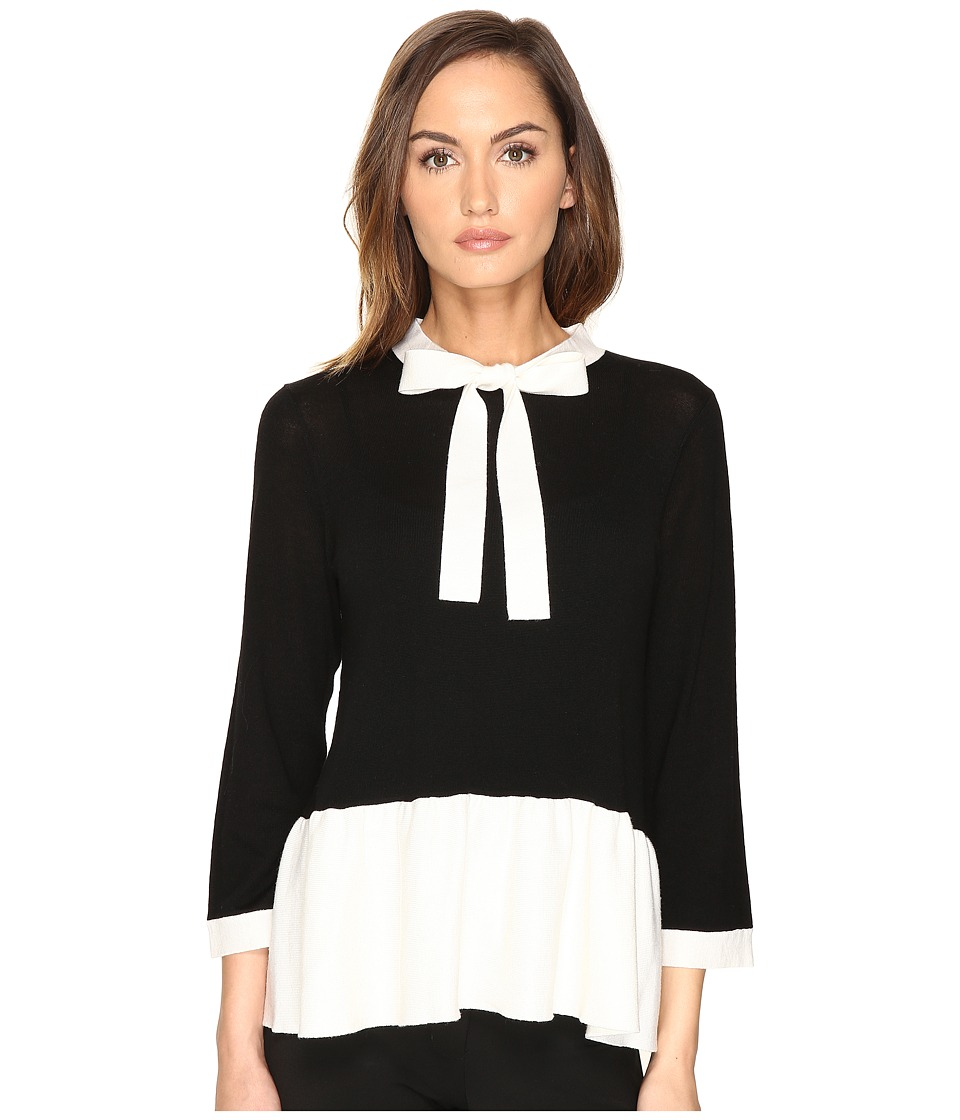 Kate Spade New York - Flounce Sweater (Black/Cream) Women's Sweater