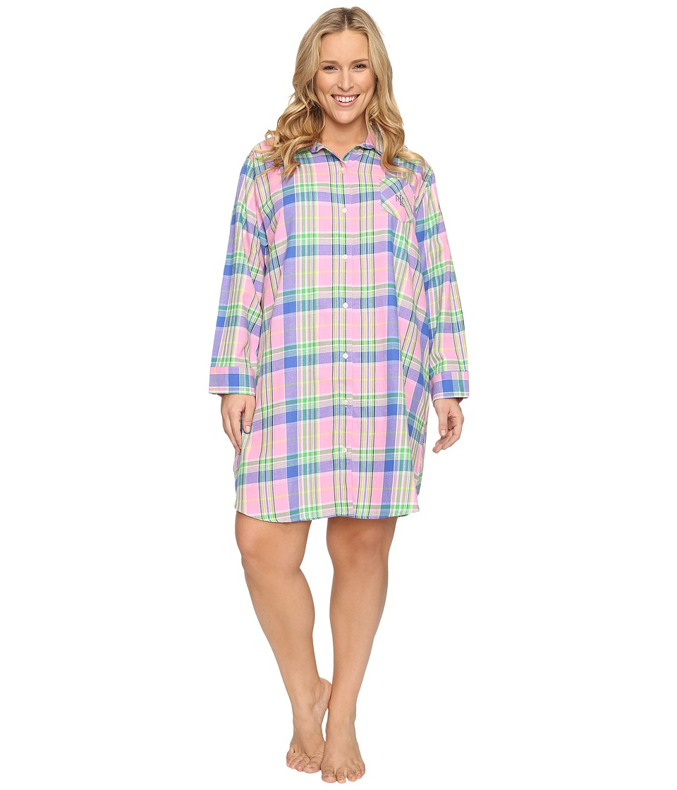 LAUREN Ralph Lauren - Plus Size Brushed Twill Sleepshirt (Plaid Pink) Women's Pajama