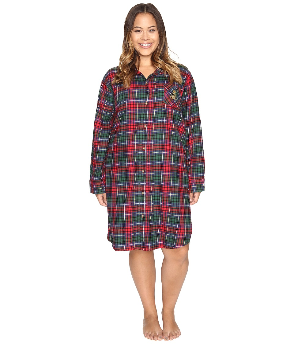 LAUREN Ralph Lauren - Plus Size Brushed Twill Sleepshirt (Plaid Red/Green/Blue) Women's Pajama
