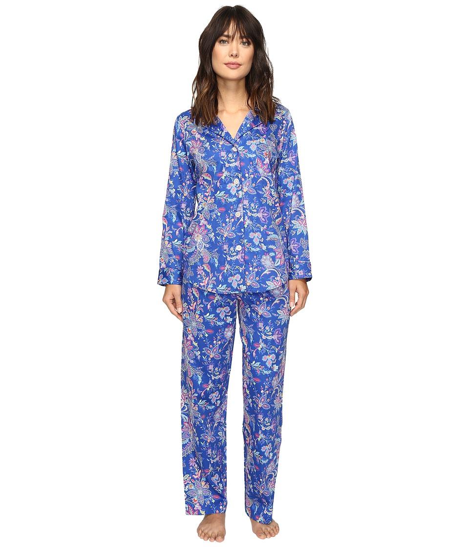 LAUREN Ralph Lauren - Sateen Notch Collar PJ (Paisley Blue) Women's Pajama Sets