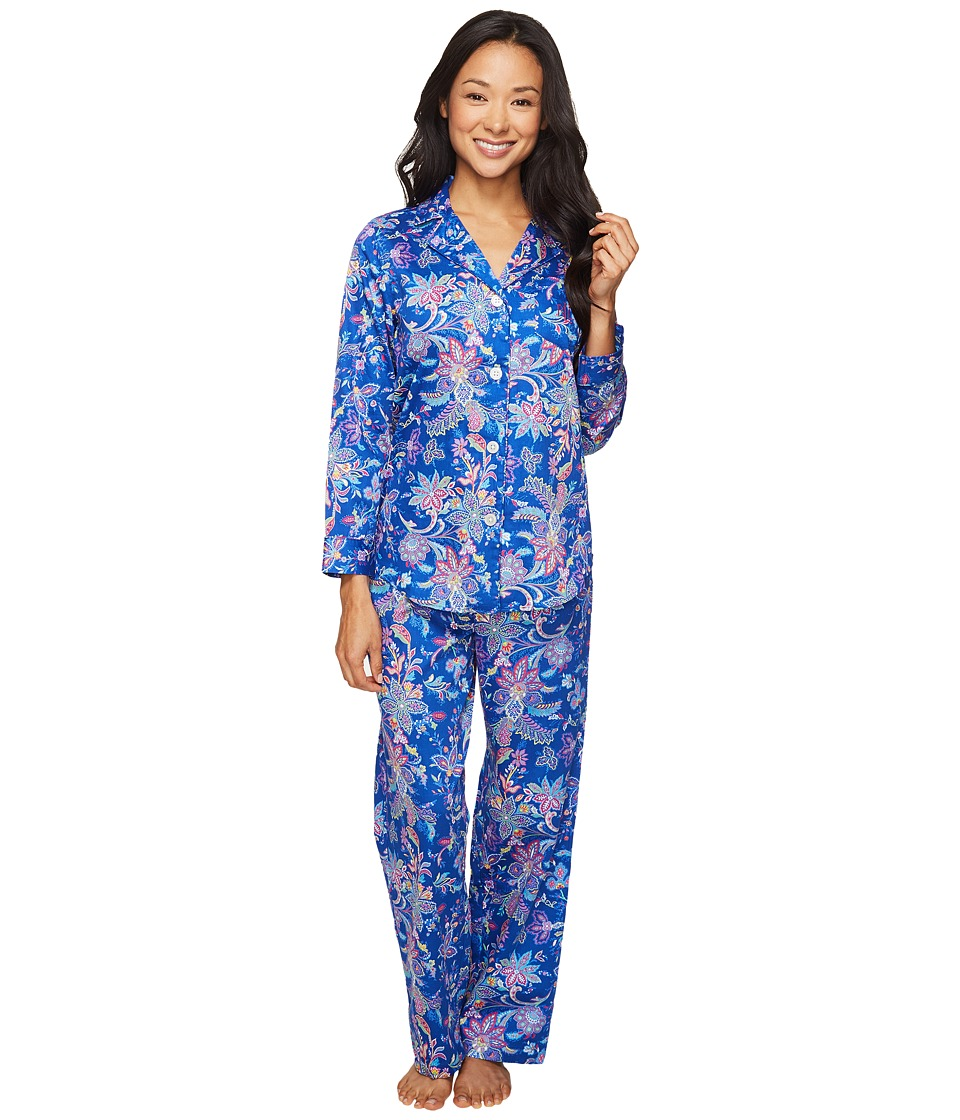 LAUREN Ralph Lauren - Petite Sateen Notch Collar Pajama (Paisley Blue) Women's Pajama Sets