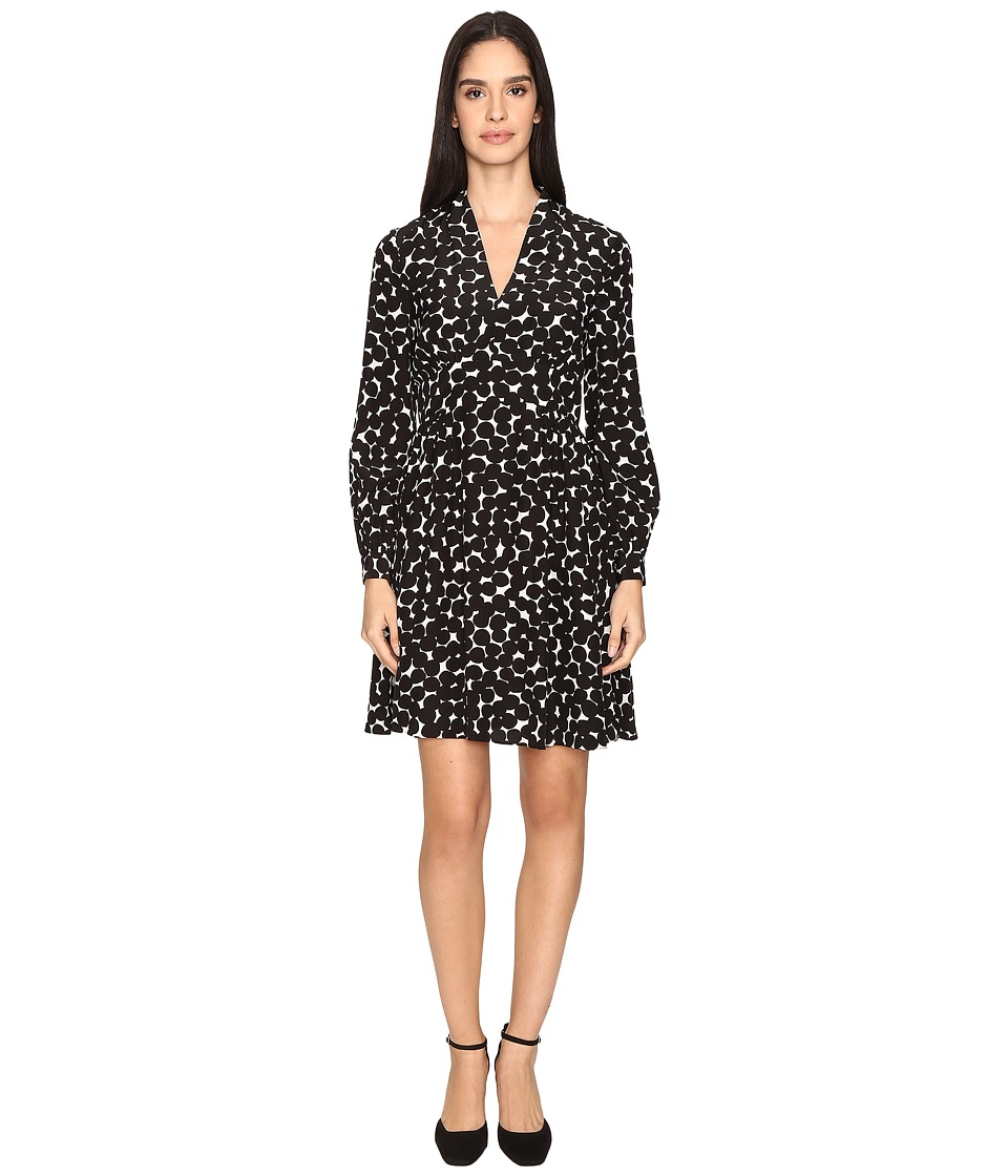 Kate Spade New York - Blot Dot V-Neck Dress (French Cream/Black) Women's Dress