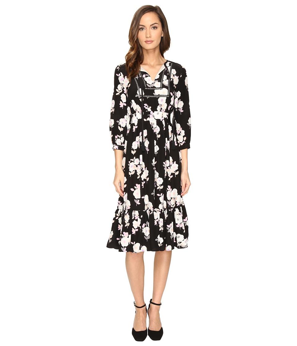 Kate Spade New York Posy Floral Silk Dress (Black) Women