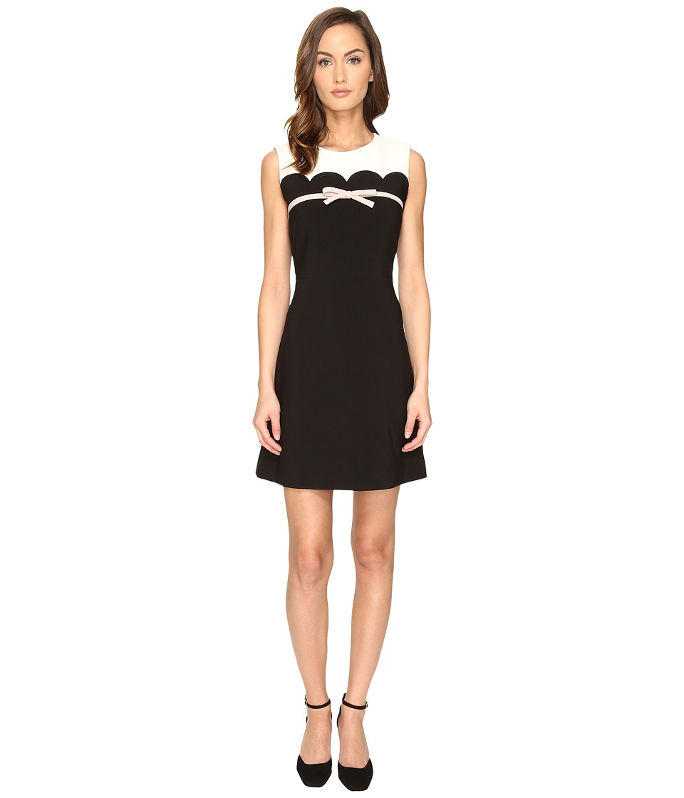 Kate Spade New York - Scallop Bow A-Line Dress (French Cream/Black) Women's Dress