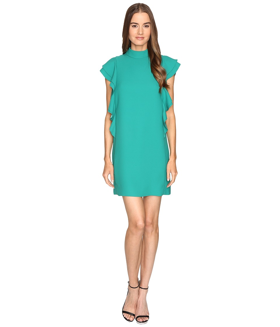 Kate Spade New York - Satin Crepe Flutter Sleeve Dress (Emerald Ring) Women's Dress