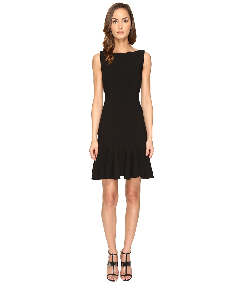 Kate Spade New York - Crepe Flounce Dress (Black) Women's Dress