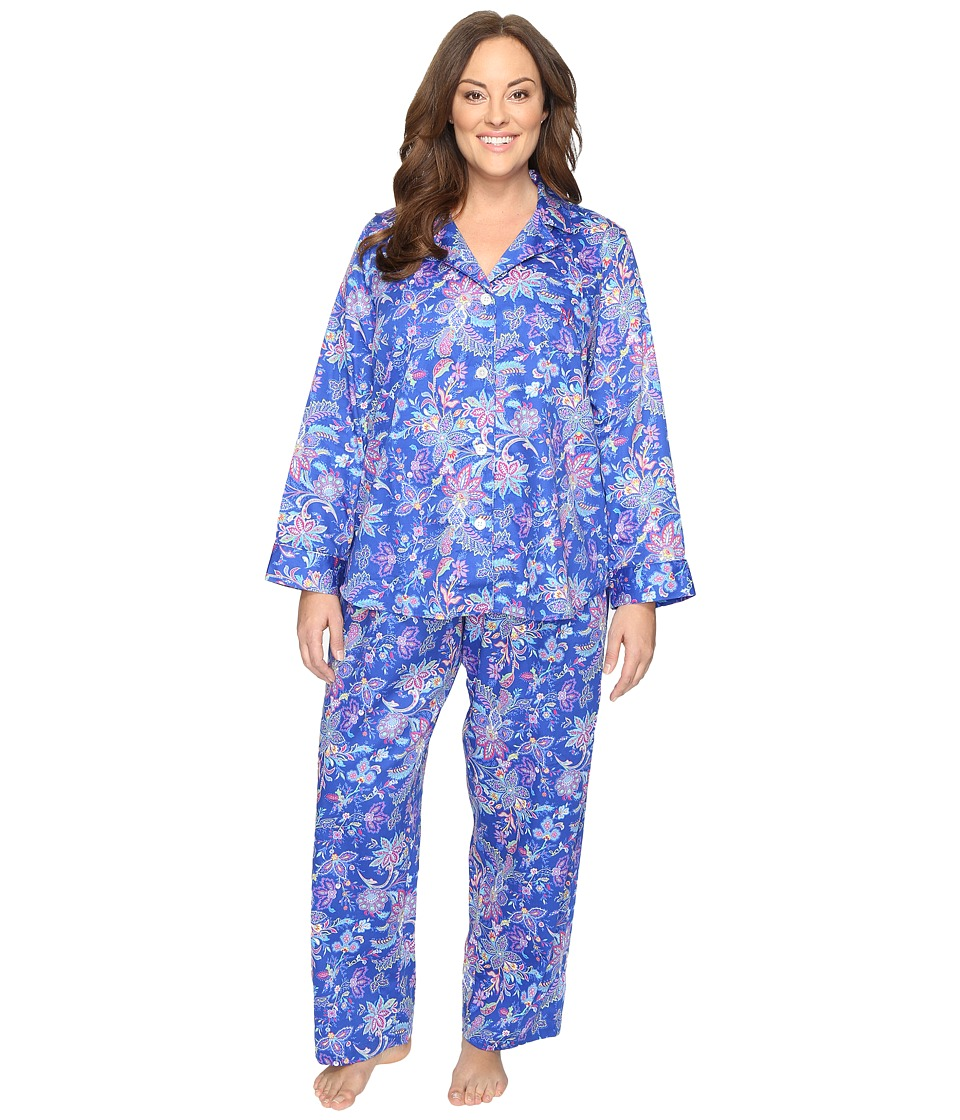 LAUREN Ralph Lauren - Plus Size Sateen Notch Collar PJ (Paisley Blue) Women's Pajama Sets