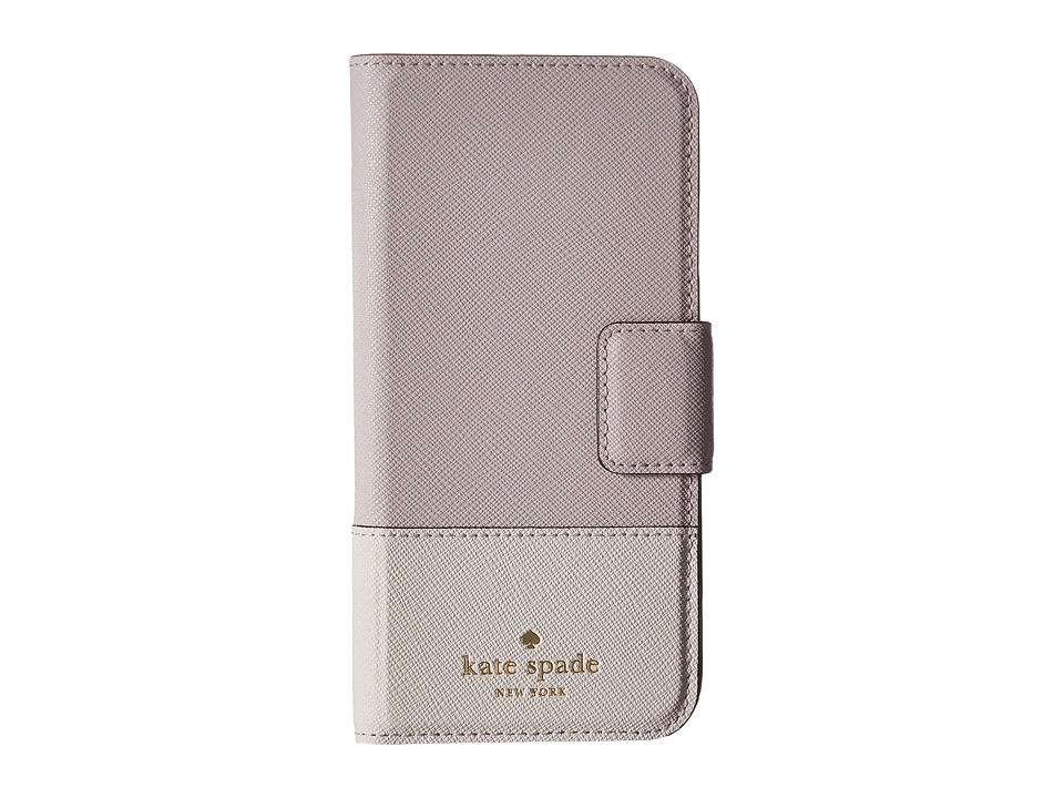 Kate Spade New York - Leather Wrap Folio Phone Case for iPhone 7 (Nouveau Neutral/Light Shale) Cell Phone Case