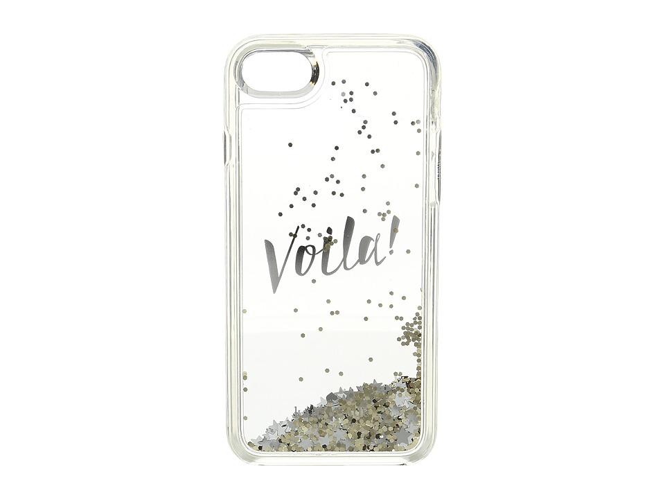 Kate Spade New York - Voila Liquid Glitter Phone Case for iPhone 7 (Gold/Clear) Cell Phone Case