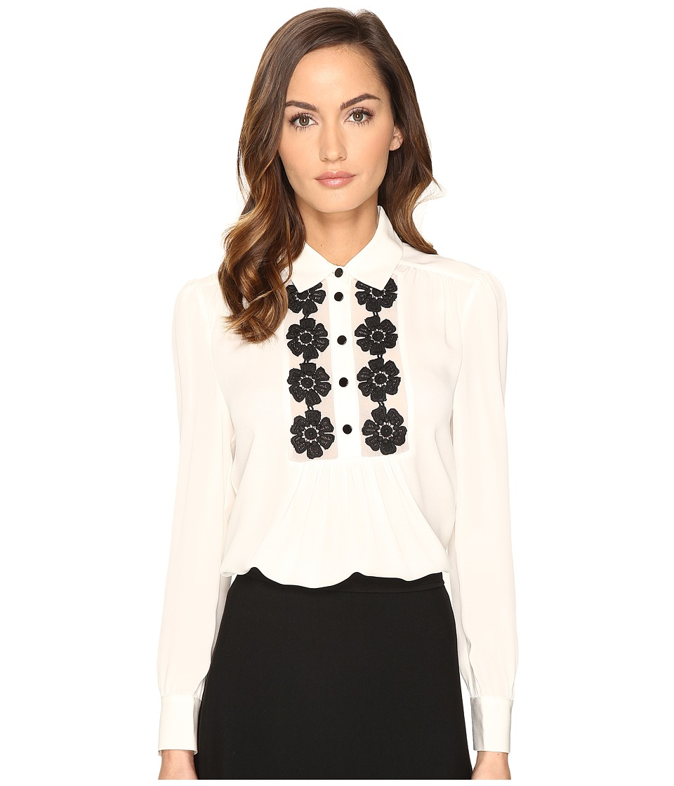 Kate Spade New York - Daisy Lace Silk Shirt (French Cream) Women's Clothing
