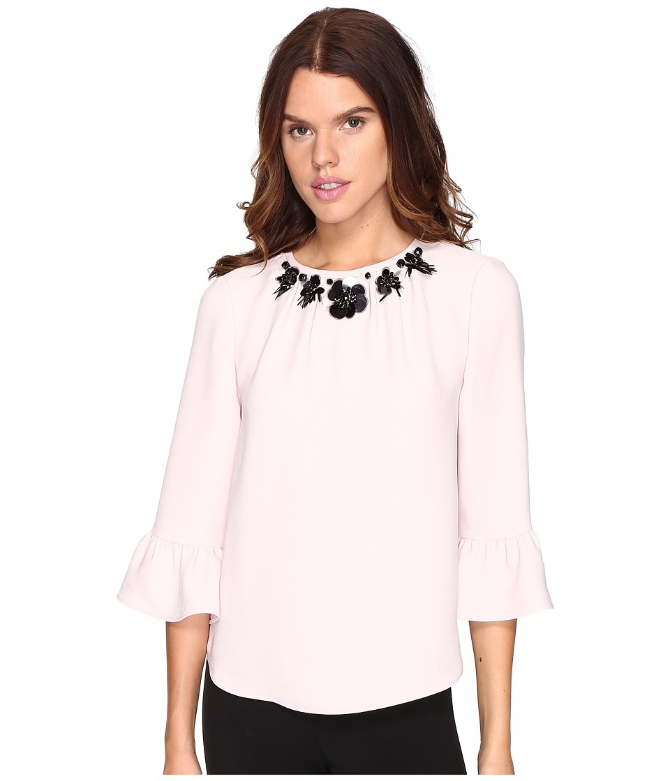 Kate Spade New York - Embellished Crepe Top (Pink Champagne) Women's Clothing