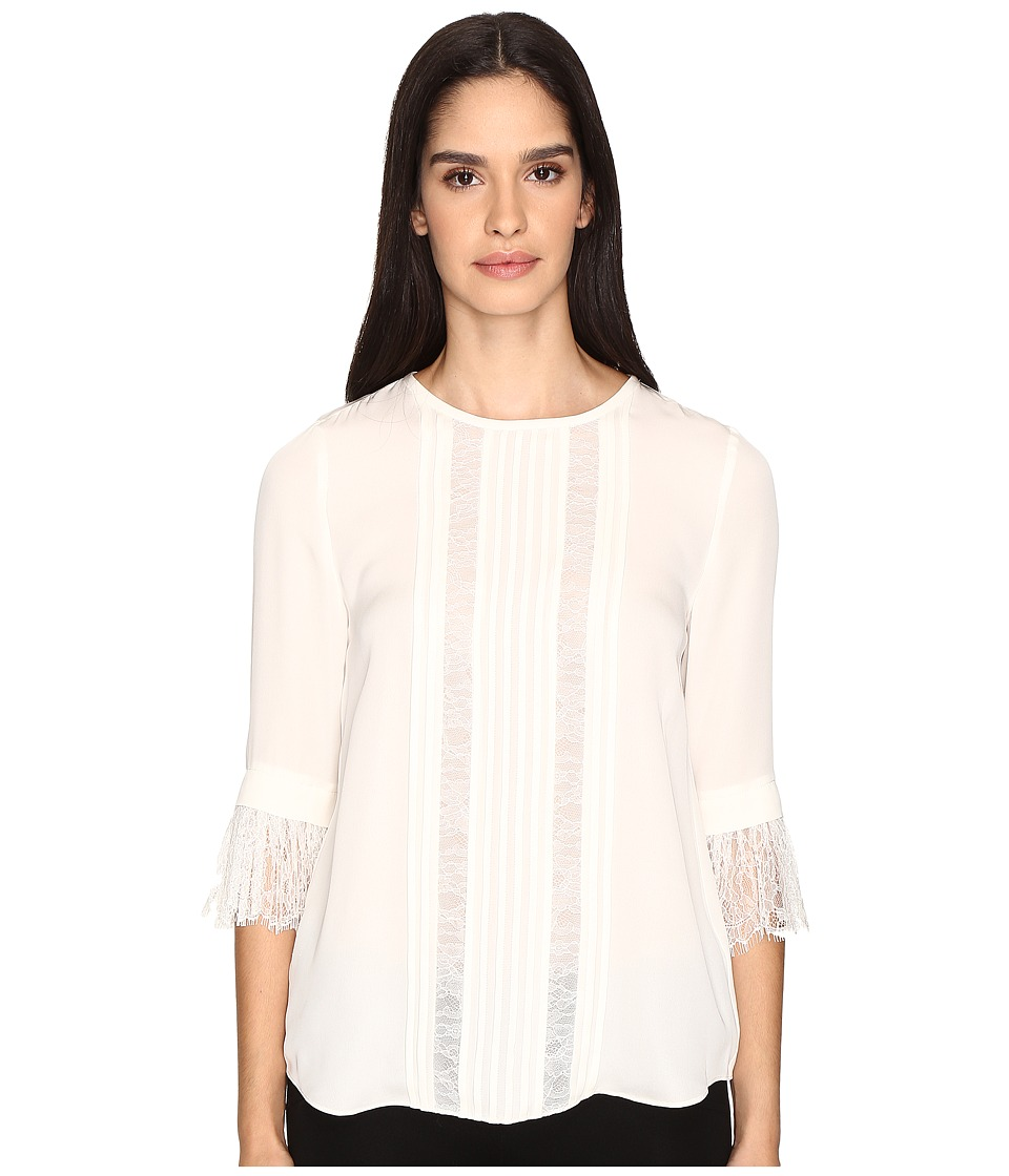 Kate Spade New York - Lace Inset Silk Top (French Cream) Women's Clothing