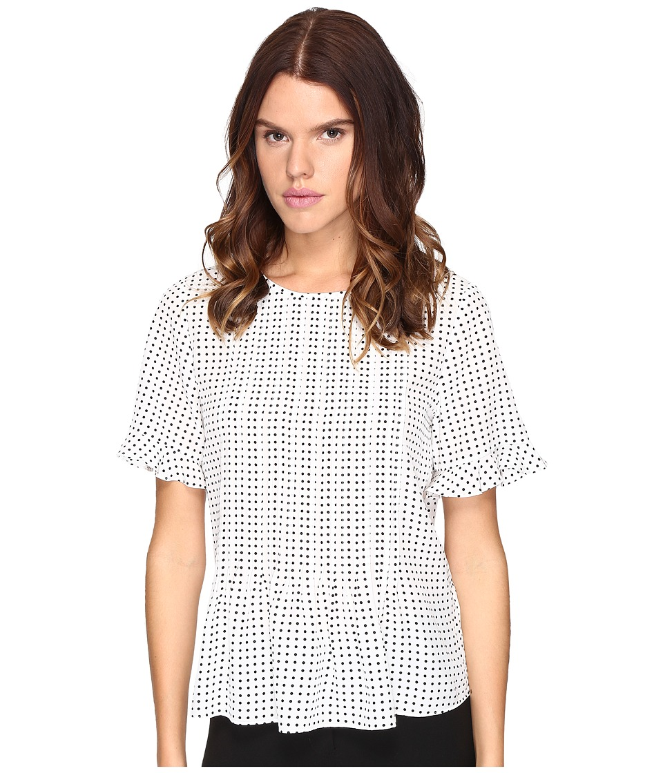 Kate Spade New York - Pin Dot Pintuck Top (Cream/Black) Women's Clothing