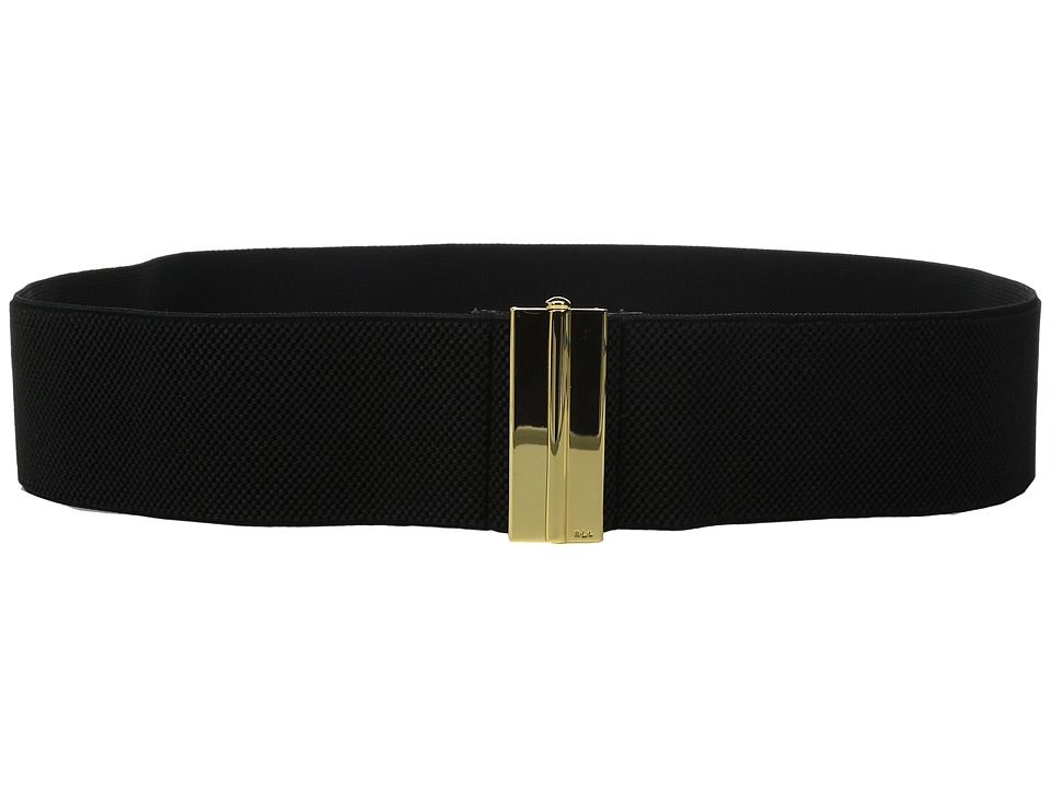 LAUREN Ralph Lauren - 2 1/2 Dress Beveled Sliding Interlock on Stretch Strap (Black) Women's Belts