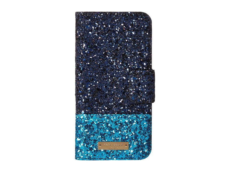 Kate Spade New York - Skyline Leather Wrap Folio Phone Case for iPhone 7 (Navy Multi) Cell Phone Case
