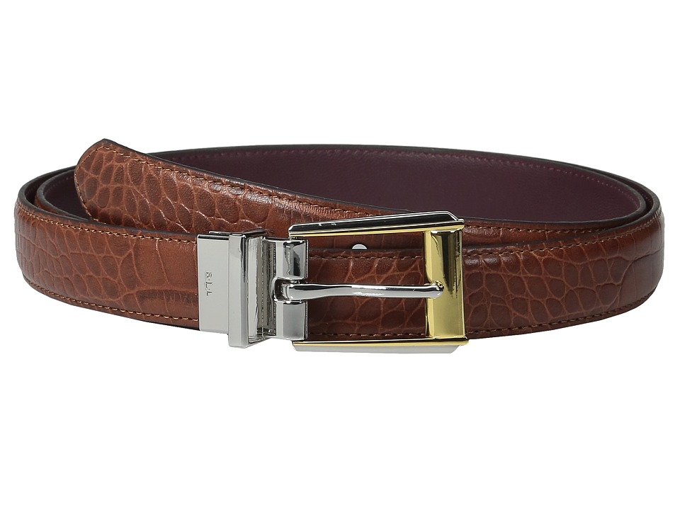 LAUREN Ralph Lauren - 3/4 Two-Tone Dress Buckle Reversible Faux Croc to Smooth PU (Bourbon/Claret) Women's Belts