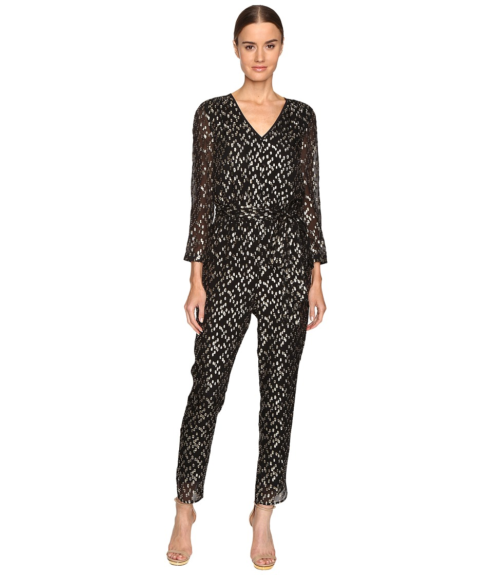 Kate Spade New York - Metallic Clipped Dot Jumpsuit (Black/Gold) Women's Jumpsuit & Rompers One Piece