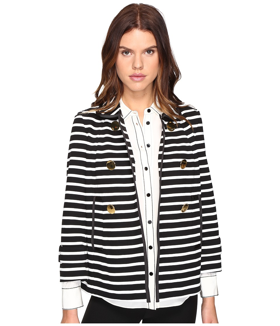 Kate Spade New York - Stripe Peacoat (Black/Cream) Women's Coat