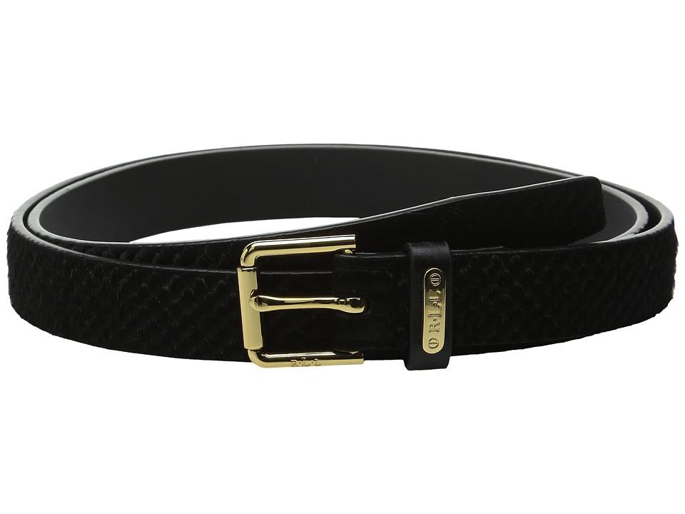 LAUREN Ralph Lauren 1 Haircalf Belt w/ Side Bar Roller Buckle and Logo Keeper Plaque (Black) Women