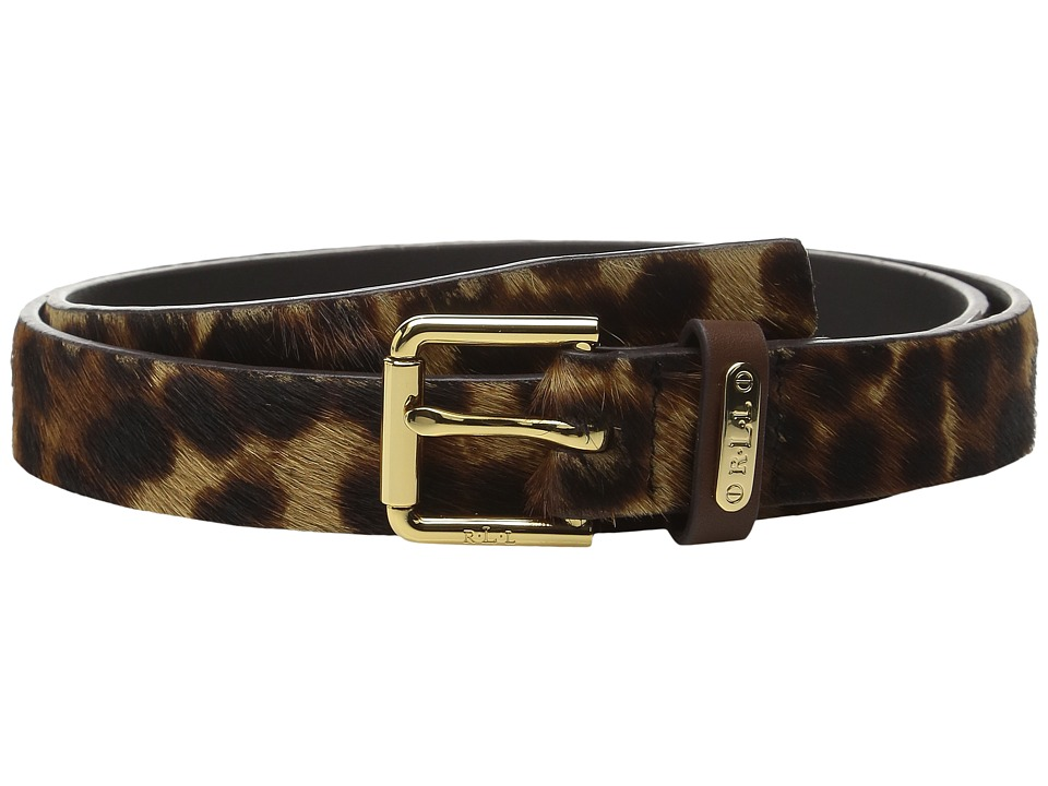 LAUREN Ralph Lauren - 1 Haircalf Belt w/ Side Bar Roller Buckle and Logo Keeper Plaque (Leopard) Women's Belts