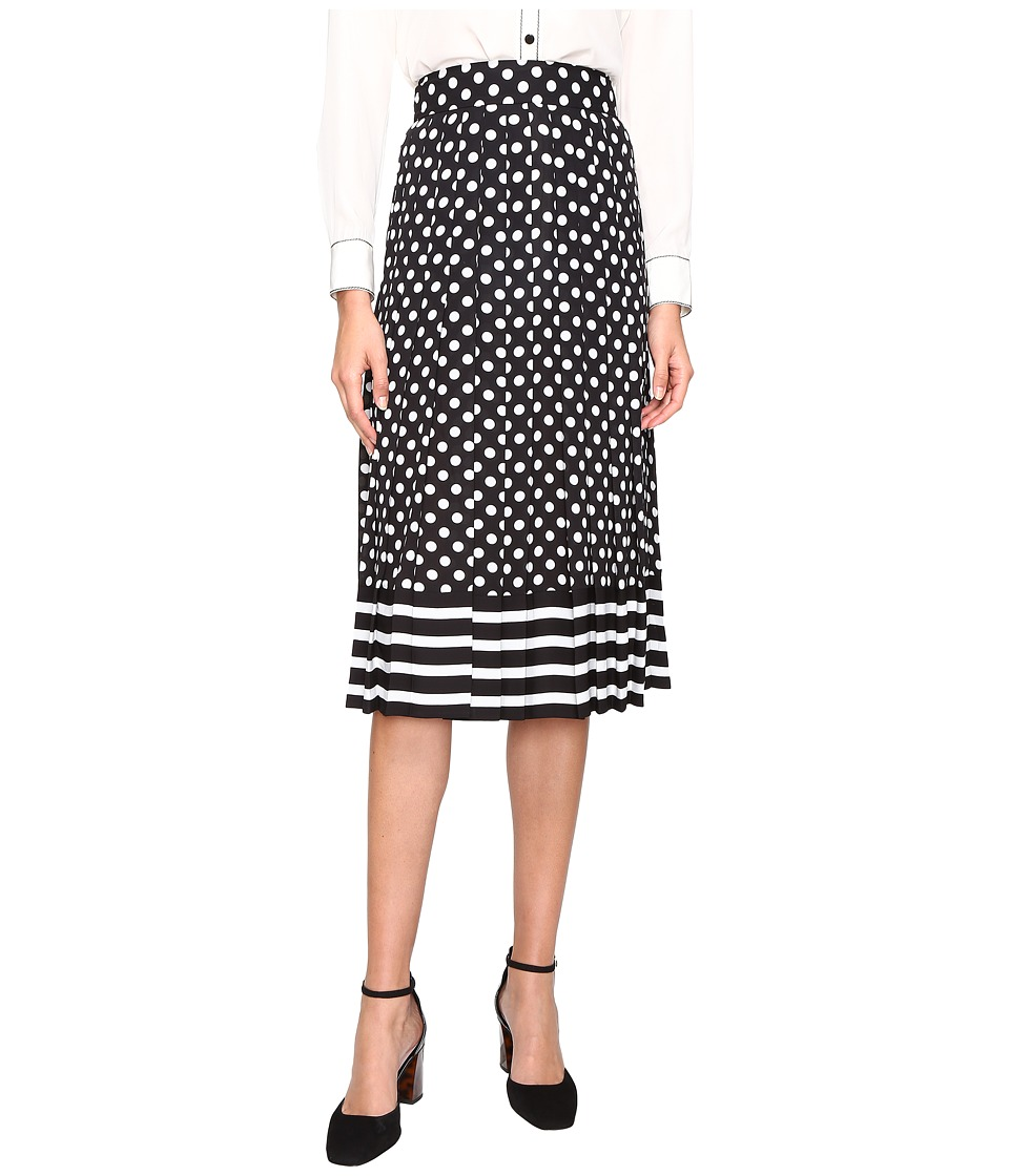 Kate Spade New York - Dot Stripe Pleated Skirt (Black/Cream) Women's Skirt