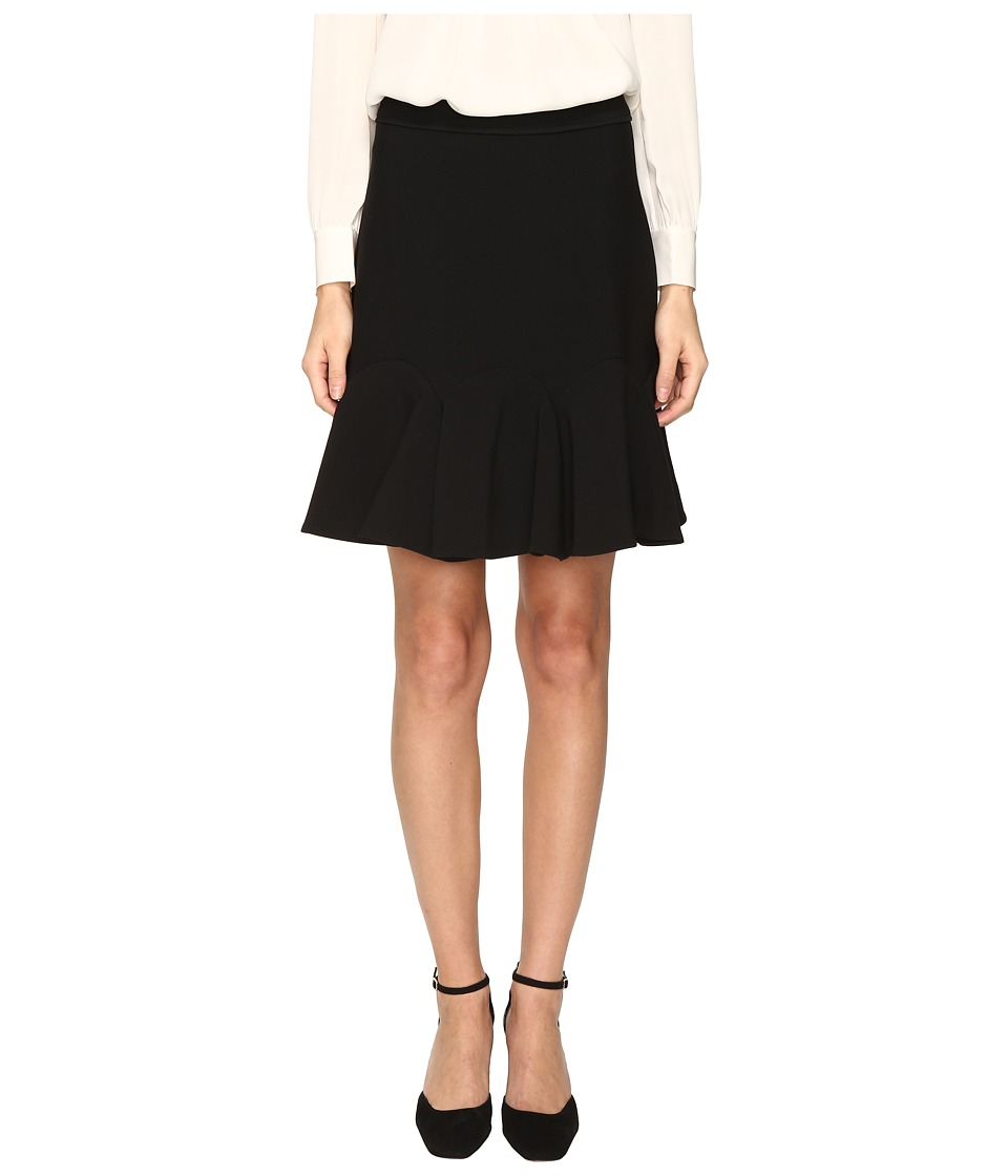 Kate Spade New York - Crepe Flounce Skirt (Black) Women's Skirt