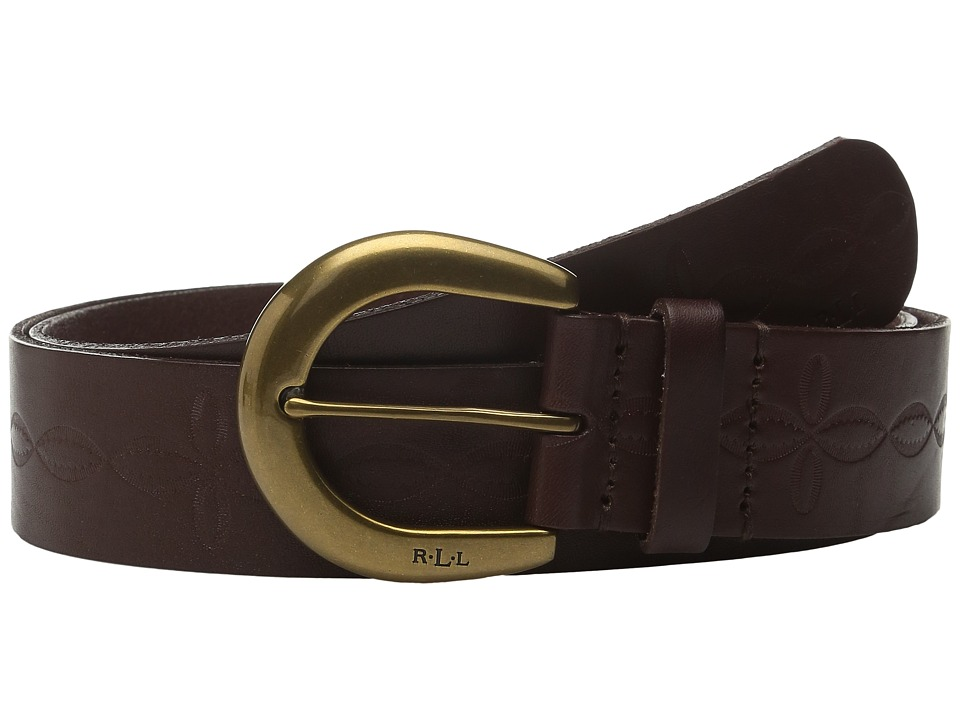 LAUREN Ralph Lauren - 1 1/2 Veg Embossed Jeans Belt with Western Tooling Detail C-Buckle (Dark Brown) Women's Belts