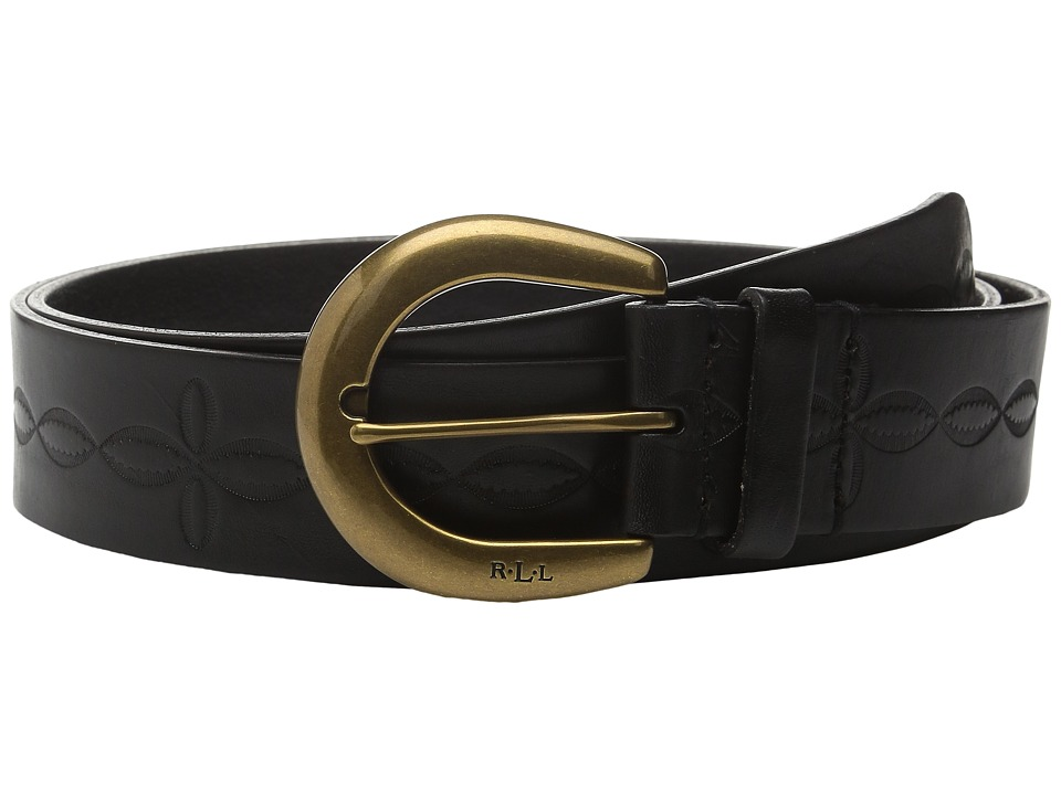 LAUREN Ralph Lauren - 1 1/2 Veg Embossed Jeans Belt with Western Tooling Detail C-Buckle (Black) Women's Belts