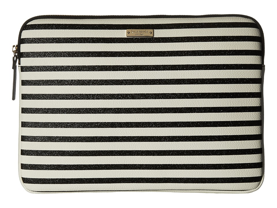 Kate Spade New York - 13 Inch Stripe Laptop Sleeve Case (Black Multi) Computer Bags