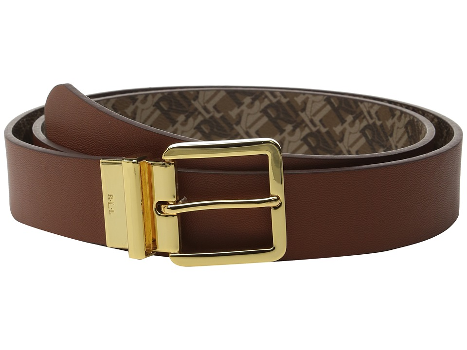 LAUREN Ralph Lauren - 1 3/8 Dobson Print/Solid Smooth Reversible Belt with Square Endbar Metal Keeper (Tan) Women's Belts