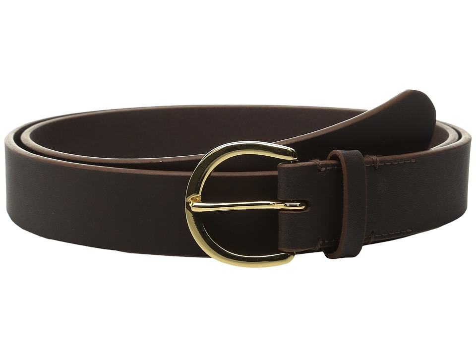 LAUREN Ralph Lauren - 1 1/8 Milford Endbar Belt w/ Contrast Edge (Dark Brown/Brown) Women's Belts