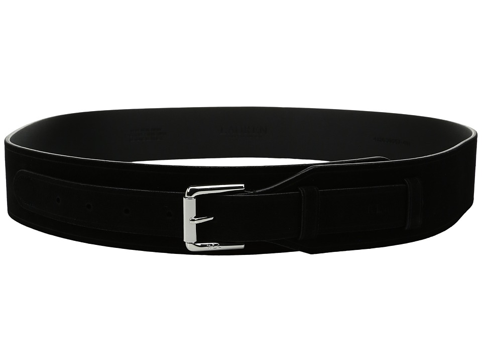 LAUREN Ralph Lauren - 2 Equestrian Harness Suede Belt (Black) Women's Belts