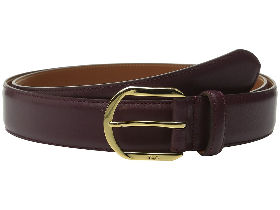 LAUREN Ralph Lauren - 1 1/4 Winston Endbar Dress Buckle on Smooth Leather Strap (Claret) Women's Belts