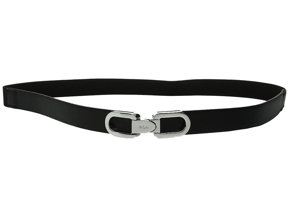 LAUREN Ralph Lauren - 1 Lexington Link Interlock Closure on Smooth PU Tabs w/ Stretch Back (Black) Women's Belts