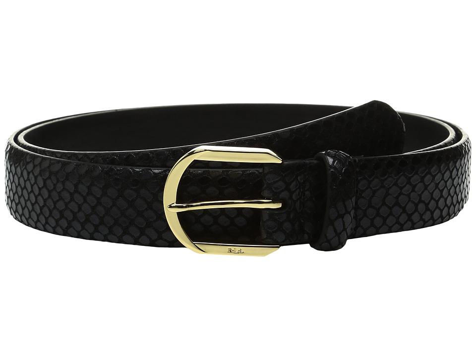LAUREN Ralph Lauren - 1 1/8 Endbar on Faux Snake Strap w/ Metallic Gold Wash (Black) Women's Belts