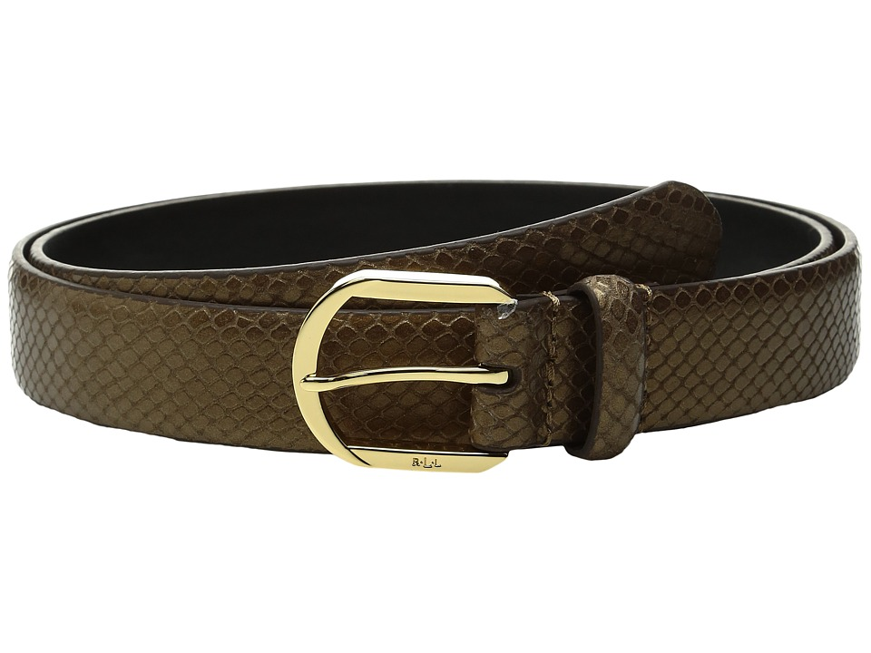 LAUREN Ralph Lauren - 1 1/8 Endbar on Faux Snake Strap w/ Metallic Gold Wash (Gold) Women's Belts